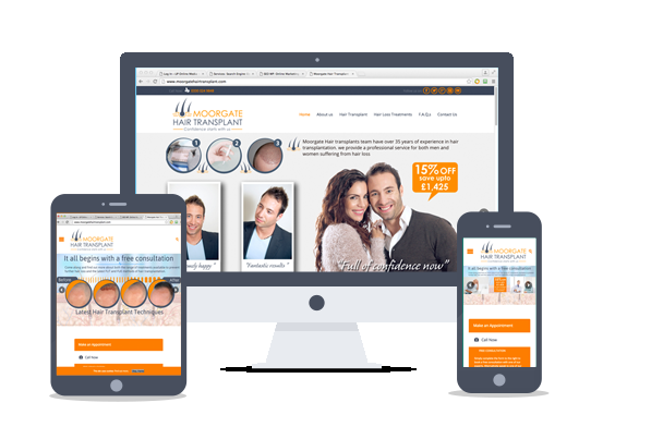 website design- Moorgate hair Transplant
